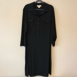 Michael Kors Black Half-Button-Down Dress